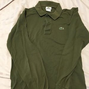 Lacoste Men's Olive Green Long Sleeve Shirt